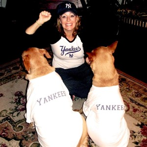 DeDe Murcer Moffett with the dogs dressed up in New York Yankees t-shirts