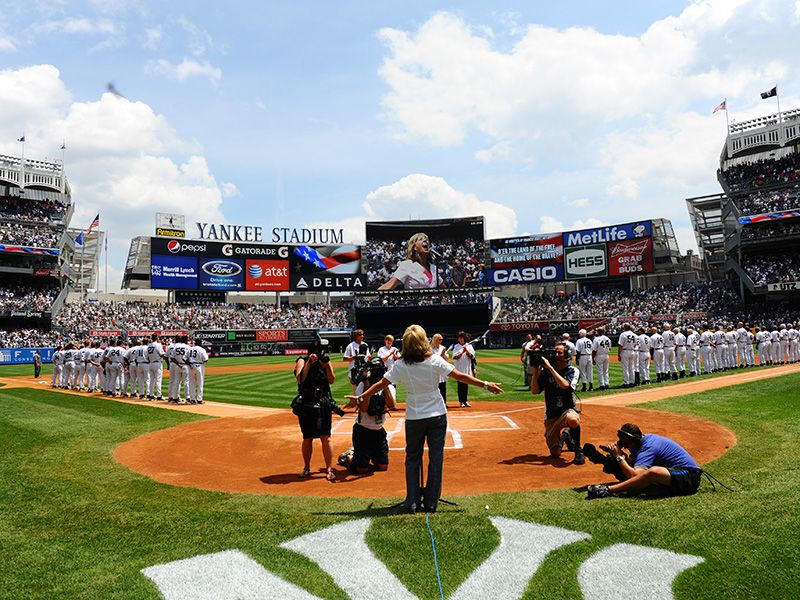 DeDe Murcer Moffett sings for the NAtional Anthem at the New York Yankees ballpark