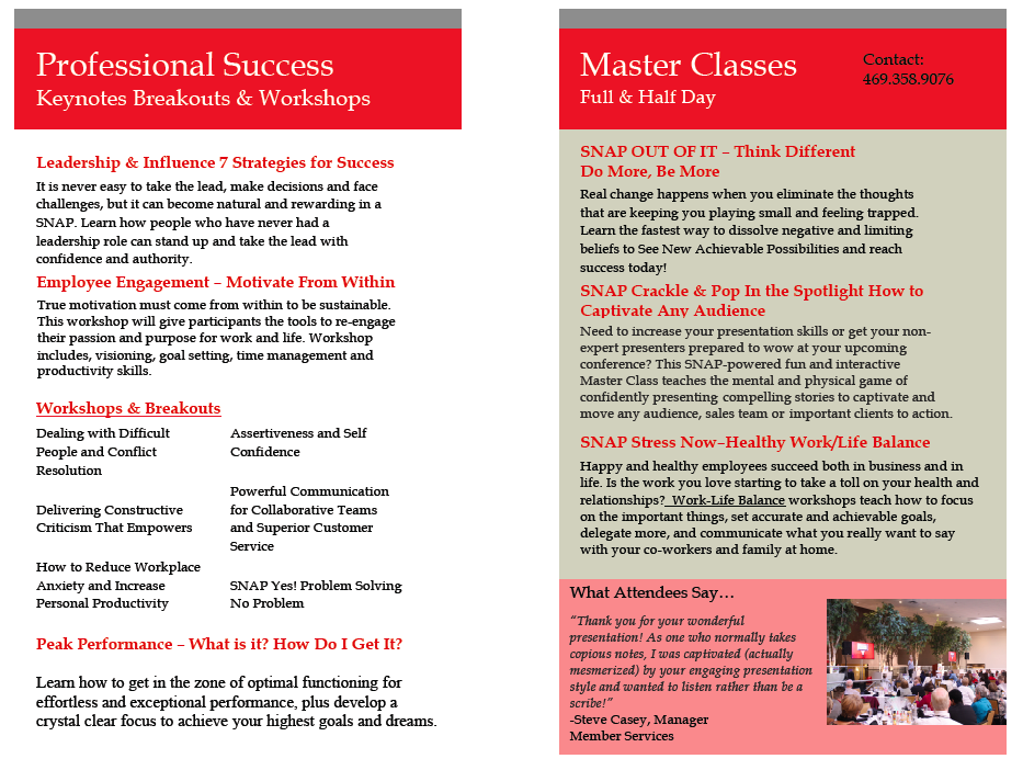 Keynotes, Workshops, Breakouts