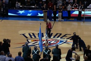 DeDe Murcer Moffett singing the National Anthem for the Oklahoma NBA City Thunser